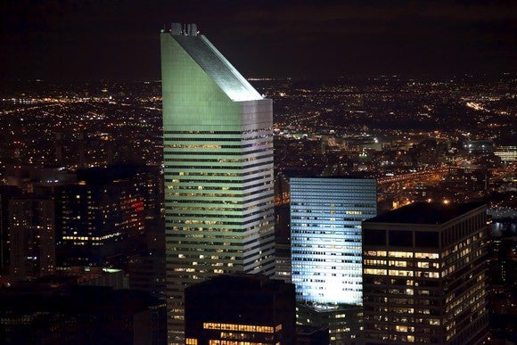The Citigroup Center in Manhattan, illuminated at night.