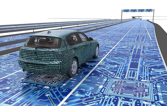 Car driving on digital road.