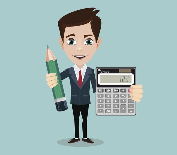 Drawing of an eager accountant in a business suit holding outsized objects: a sharpened green pencil in one hand and a calculator in the other