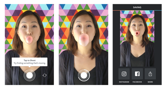 Three images of a young woman blowing and popping a bubble gum bubble.