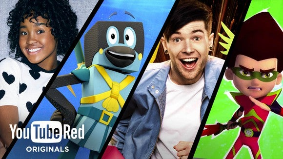 A four-part banner of posters from some of YouTube Red's kid-friendly shows.