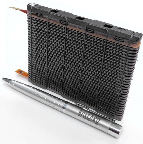 Close up picture of Ballard's new fuel cell, which is about the size of a pen.
