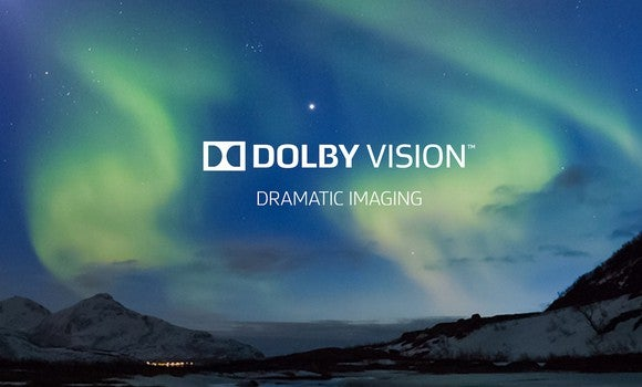 "Dolby Vision logo over a photo of the Northern Lights, subtext ""Dramatic Imaging"""