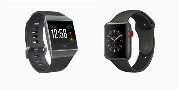 Fitbit Ionic next to Apple Watch Series 3