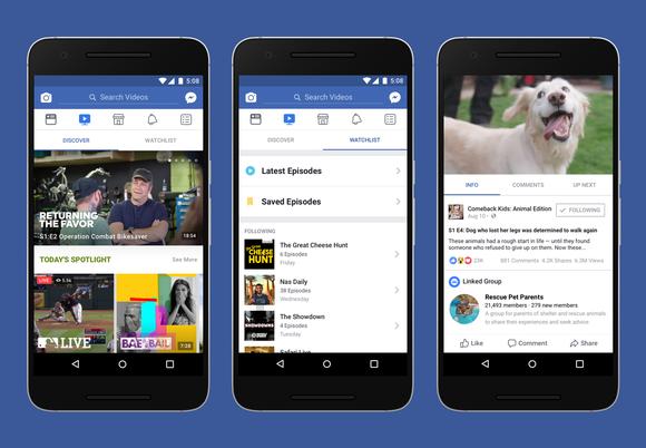 Screenshots of Facebook's Watch platform
