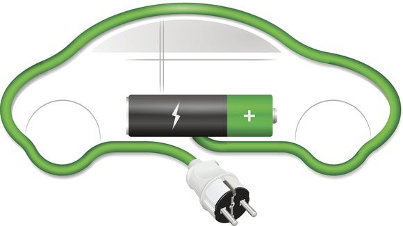 An electrical charging cord outlines the shape of a car. A battery is shown in the car and attached to one end of the cord. Concept for electric cars.