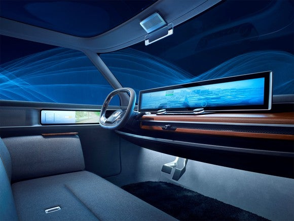 The dashboard and front seat of the Honda Urban EV Concept includes wood paneling, huge touchscreens, and couch-like seating.