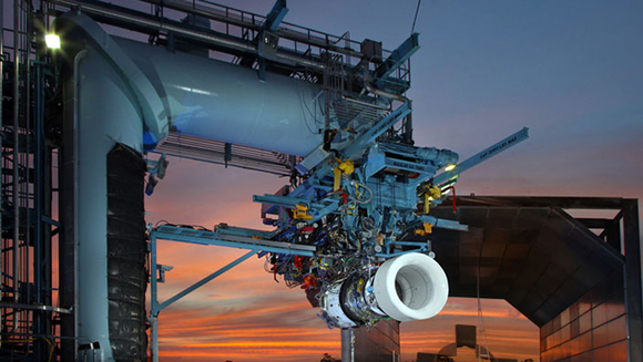 a geared turbofan in testing