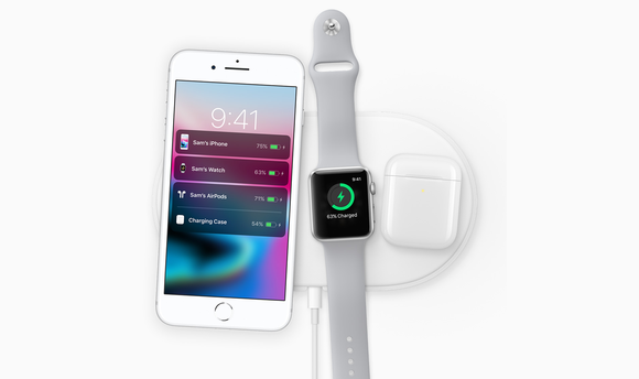 iPhone 8, Apple Watch, and AirPods charging wirelessly