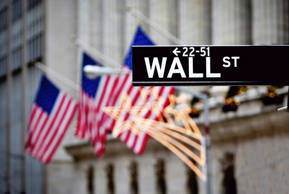 A street sign for Wall Street, with the New York Stock Exchange in the background.