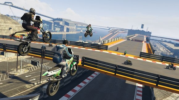 "Three people on motorcycles sailing through the air over a bridge in ""Grand Theft Auto V""."