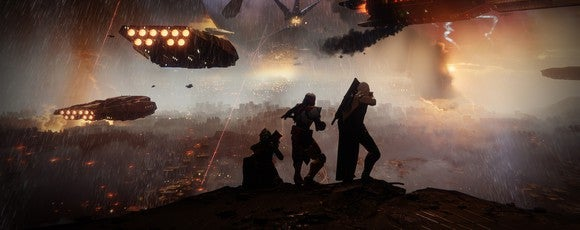 "Three characters in ""Destiny 2"" overlooking a landscape with spaceships flying in the background."