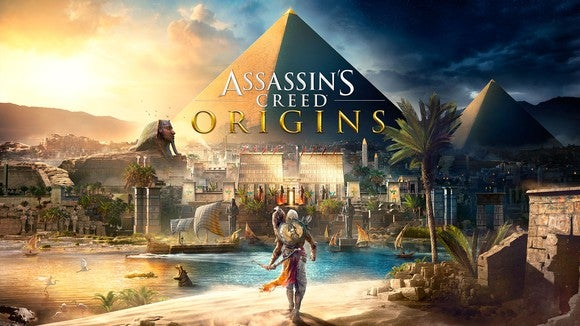 """Ubisoft's """"Assassin's Creed"""" game art depicting Egyptian landscape with pyramids and palm trees and a hooded figure walking in the foreground."""