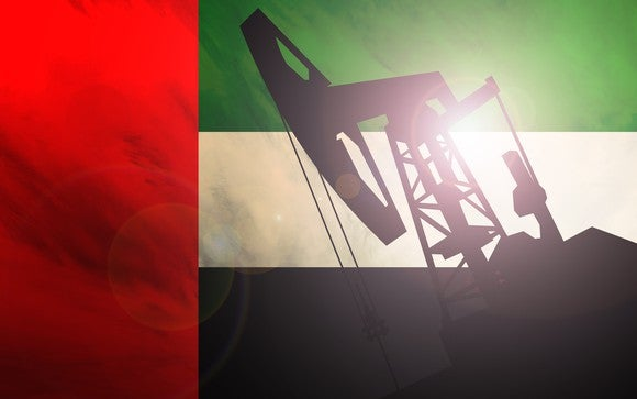An oil pump with the UAE flag as a background.