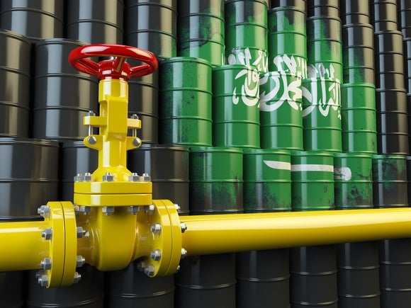 Oil pipeline valve in front of Saudi Arabia flag.