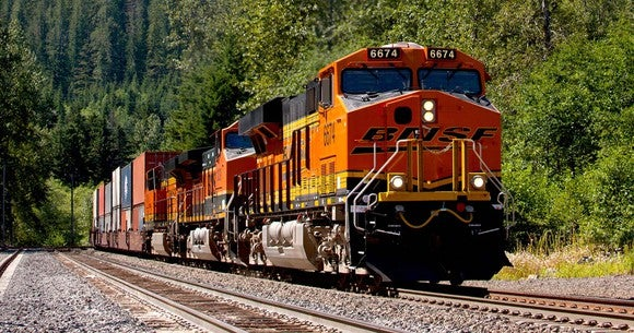 Double-stack BNSF train in Washington state
