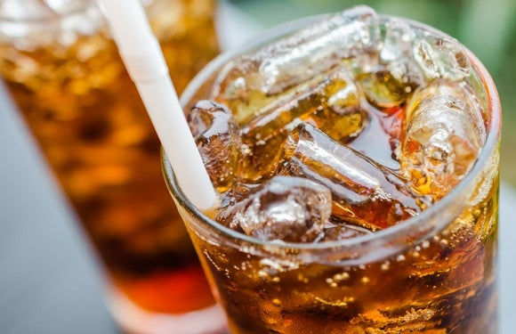 A cola in a glass.