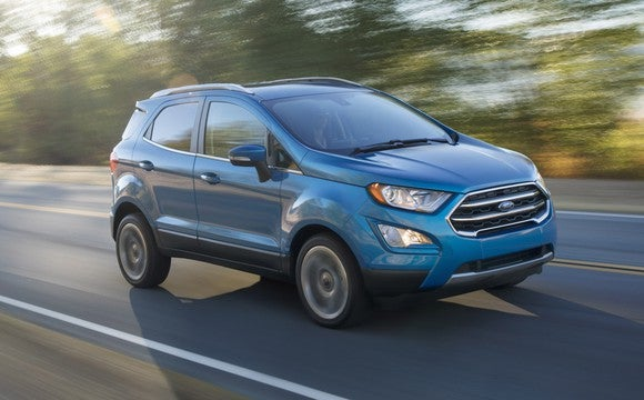 A blue 2018 Ford EcoSport, a small SUV.