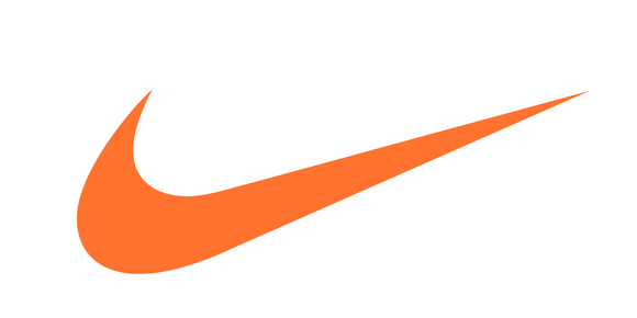 "Nike's ""swoosh"" logo in orange against white background."