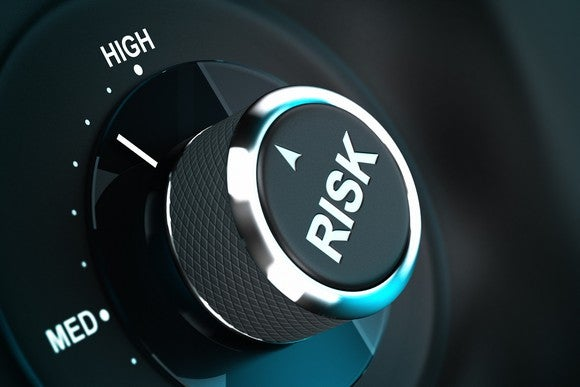 "dial labeled ""risk"" turned toward ""high"""