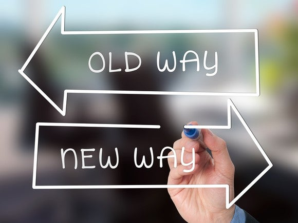 "Two arrows pointing in opposite directions. One arrow is labeled ""old way,"" the other one ""new way."""