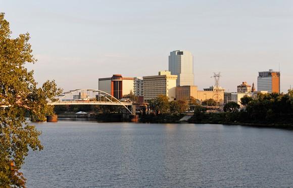 Downtown Little Rock, Arkansas, at twilight.
