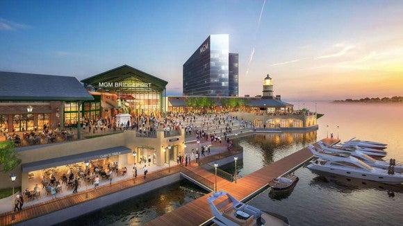 Rendering of MGM's proposed casino in Bridgeport, Connecticut.