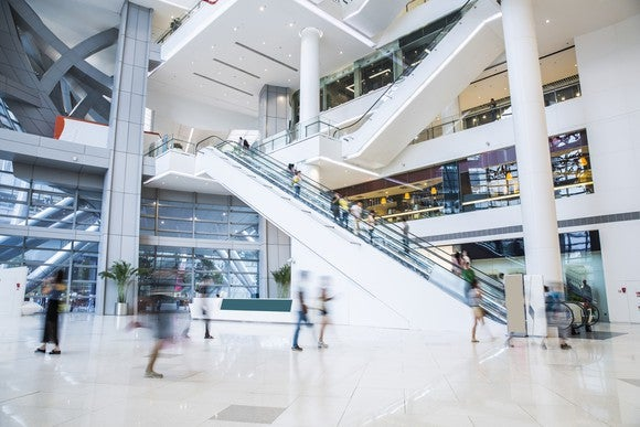 Inside a busy shopping mall.