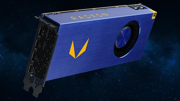 Side view of AMD's Vega Frontier Edition graphics processor.