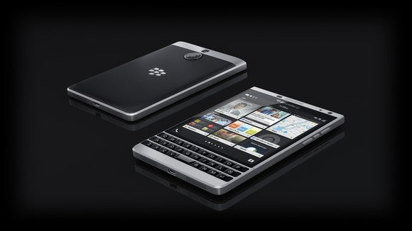 Black mobile device from BlackBerry.