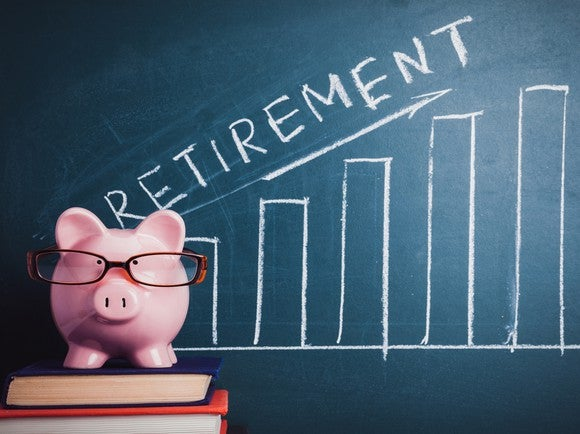 "A piggy bank wearing glasses, on top of a stack of books, in front of a blackboard on which is a graph going upward, with the word ""retirement"""