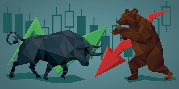 Bull and bear against mixed stock charts.
