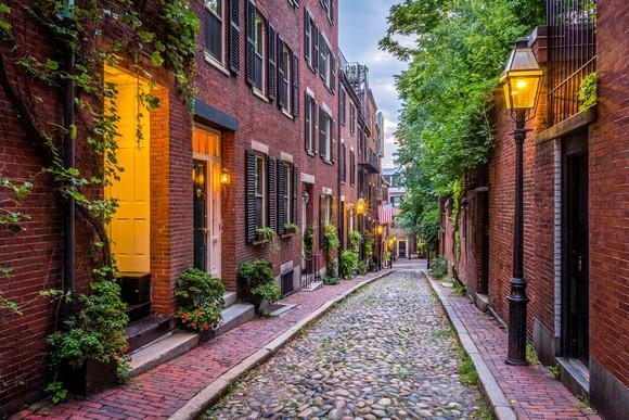 Acorn Street in Boston, Mass.