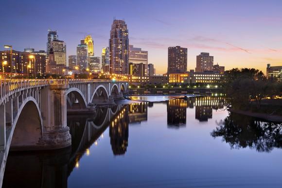 Minneapolis, Minnesota skyline.