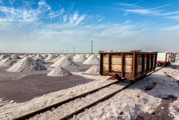 A rail car at a salt mine.