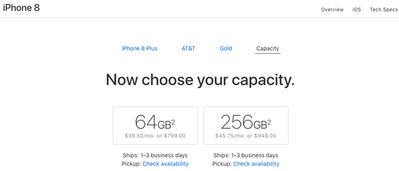 A pre-order screen from Sept. 25 showing availability to ship new iPhone 8 Plus orders in as little as a day.