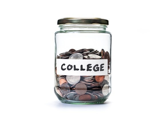 """Jar of coins labeled """"college"""""""