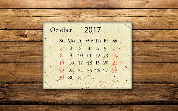 October 2017 calendar on wooden wall