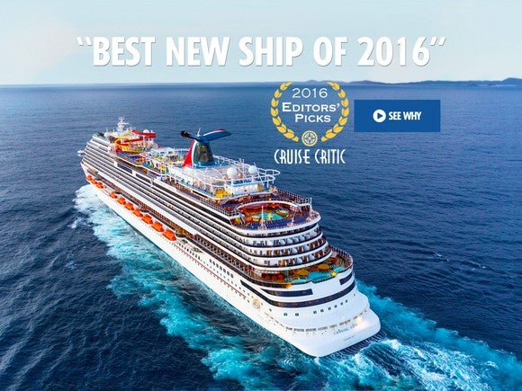 """Carnival's Vista ship on the water with a """"Best New Ship of 2016"""" caption."""