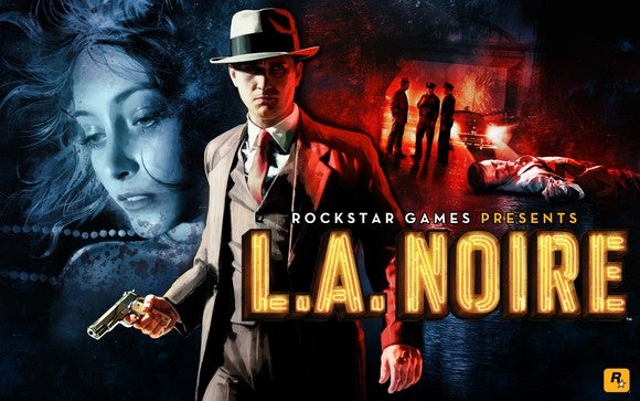 "Take Two's original ""L.A. Noire"" game box art with a detective dressed in 1940s-style attire holding a gun, with a crime scene in the background."