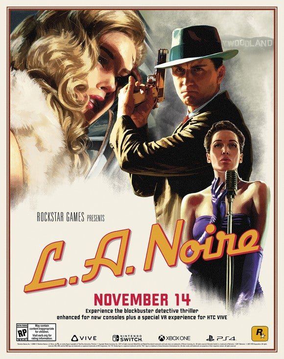 """L.A. Noire"" game poster featuring a detective holding a gun and two other characters, all wearing 1940s attire."