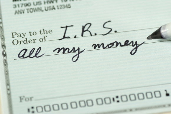 "Check to IRS reading ""all my money"""