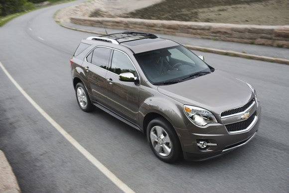 A Chevy Equinox crossover on a winding road