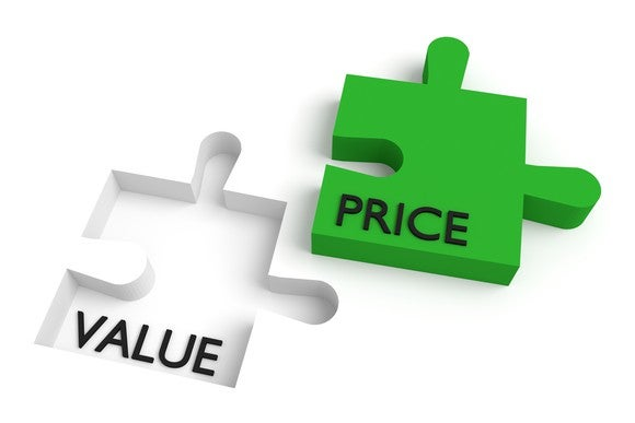 "An indentation marked with the word ""value"" sits next to a matching green puzzle piece marked ""price."""