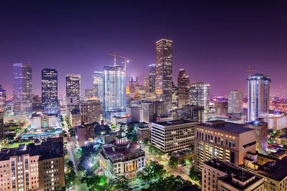 Houston, Texas skyline at night.