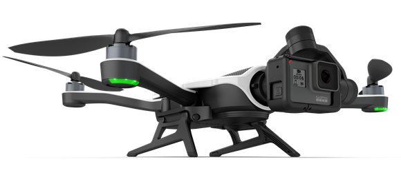 GoPro's Karma drone with a Hero 6 Black camera mounted on the front