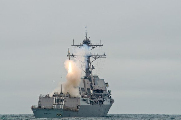 A Raytheon Tomahawk missile is launched from the USS Sterett.