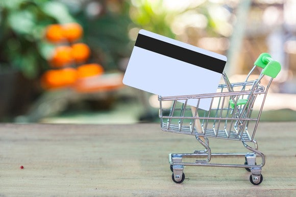 credit card in a model of a shopping cart, with a grocery-like background blurred out