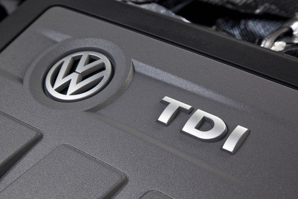 "A Volkswagen 2.0 liter ""TDI"" turbo-diesel engine of the type implicated in its global emissions-cheating scandal."