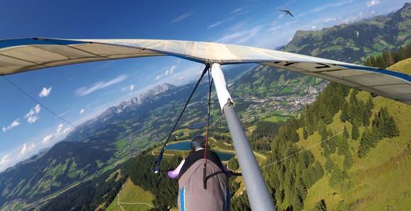 Person hang gliding